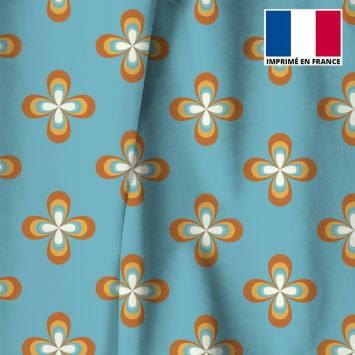 Velours ras bleu ciel imprimé fleur vintage seventies