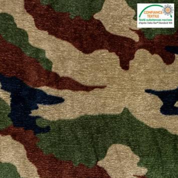 Polaire microfibre imprimée camouflage Oeko-tex