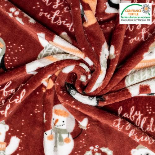 Polaire microfibre rouge imprimée pingouin et bonhomme de neige Oeko-tex