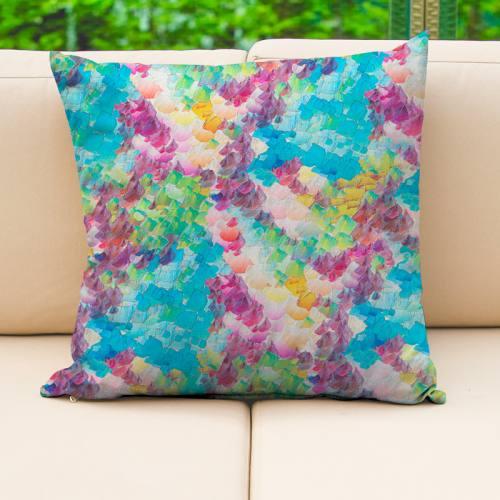 coupon - Coupon 40x149cm - Toile extérieure Téflon multicolore effet aquarelle