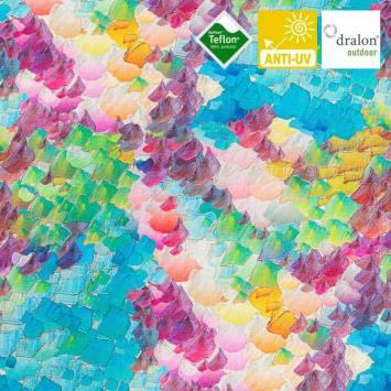 coupon - Coupon 103x147cm - Toile extérieure Téflon multicolore effet aquarelle