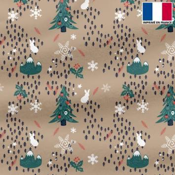 Polaire beige motif esprit de Noel