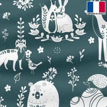 Polaire vert sarcelle motif animaux folk
