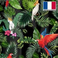 Velours ras noir motif feuille tropicale et perroquet