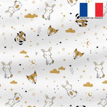 Polaire blanche motif animaux et nuit étoilée ocre