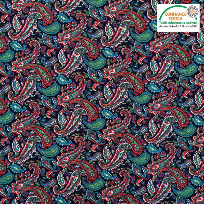 Popeline de coton noire motif cachemire vert et rouge Oeko-tex