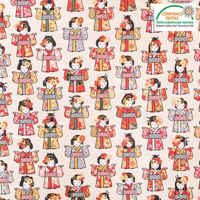 Coton crème motif geishas rouge Oeko-tex