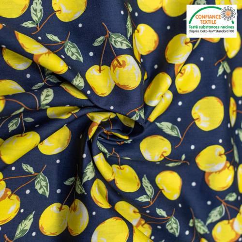 Popeline de coton bleu marine motif cerise jaune Oeko-tex