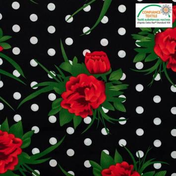 Popeline de coton noire motif pois blanc et fleur rouge Oeko-tex