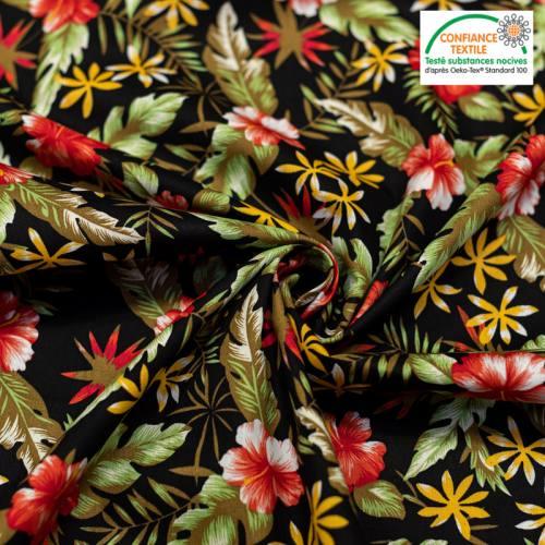 Popeline de coton noire motif fleur d'hibiscus rouge Oeko-tex