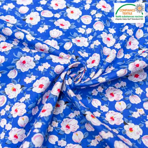 Popeline de coton bleu motif pivoine blanche Oeko-tex