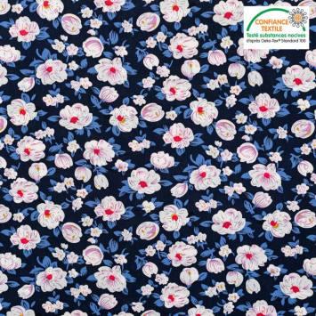 Popeline de coton bleu nuit motif pivoine blanche Oeko-tex