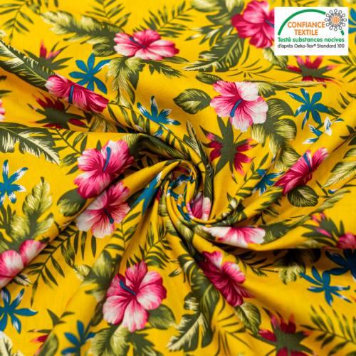 Popeline de coton ocre motif fleur d'hibiscus rose Oeko-tex
