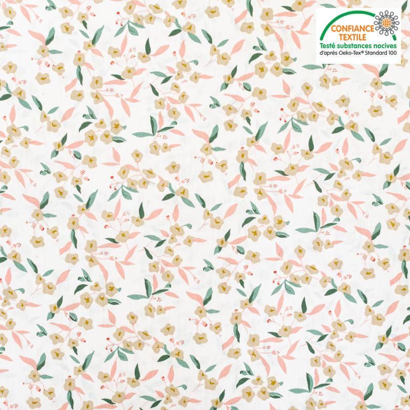 Popeline de coton écrue motif flower beige Oeko-tex