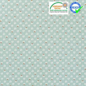 Coton bleu azur motif feuille blanche et orange Oeko-tex