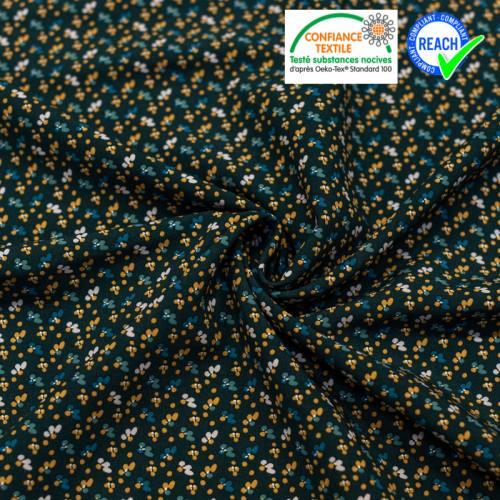 Viscose bleu nuit imprimée petite fleur camel fimoa Oeko-tex