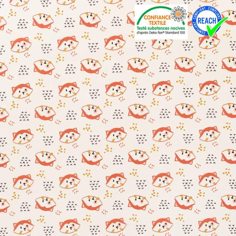 Coton blanc motif panda roux tilou Oeko-tex