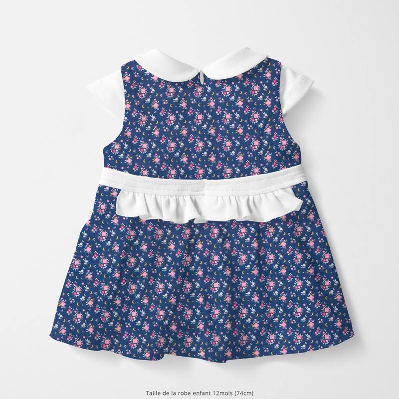 Coton bleu marine motif fleur rose et lune flomi Oeko-tex