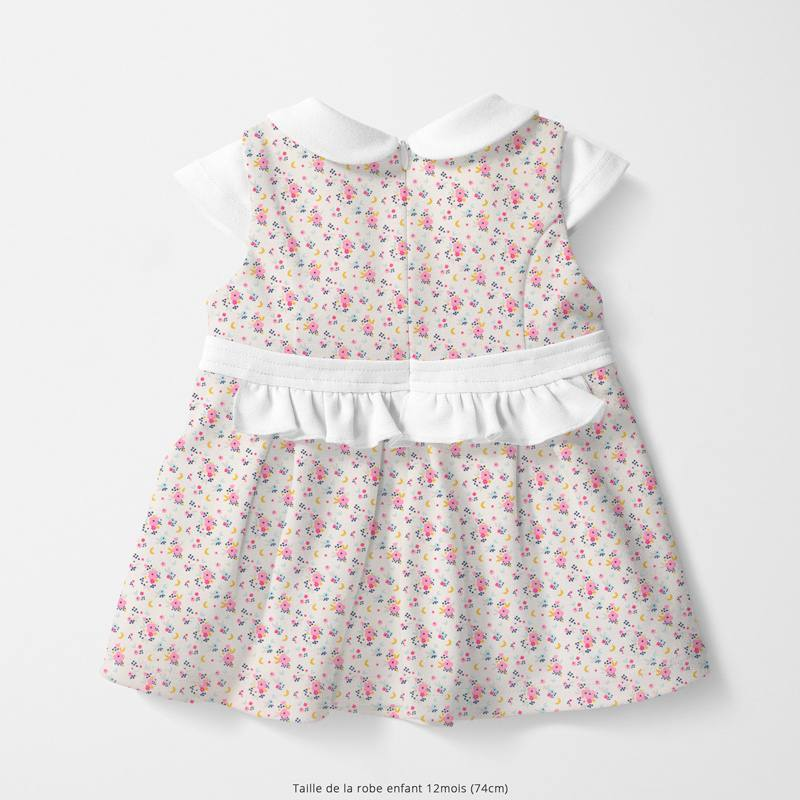 Coton blanc motif fleur rose et lune flomi Oeko-tex