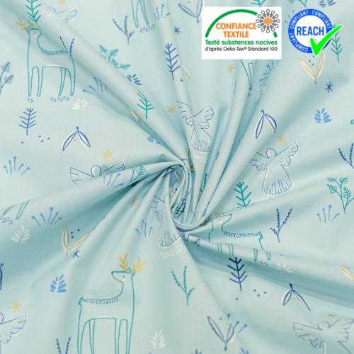 Coton bleu glacier motif cerf et étoile brillants magnus Oeko-tex