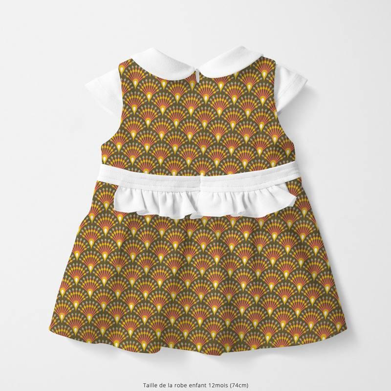 Coton kaki motif éventail moutarde ginza Oeko-tex