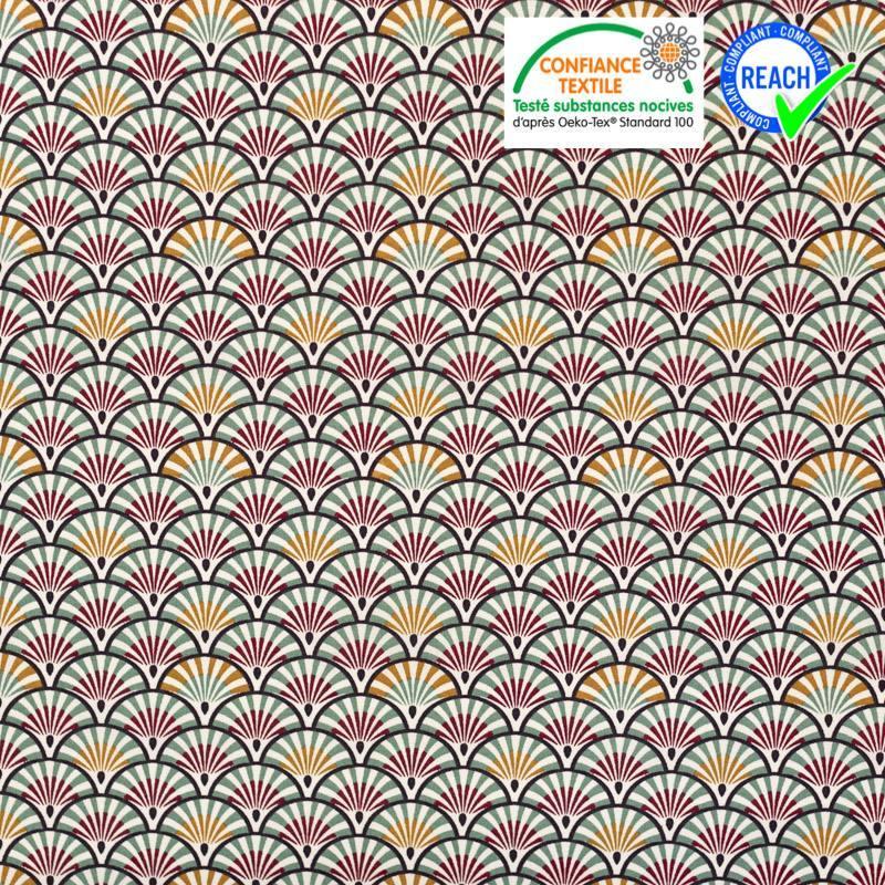 Coton blanc motif éventail camel et bordeaux yona
