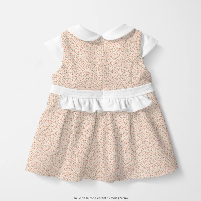 Coton blanc motif petite fleur et feuille rose thé et tomette pio Oeko-tex