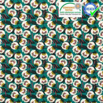 Coton vert émeraude motif fleur blanche dimeo Oeko-tex