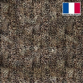 Tissu microfibre marron motif léopard vintage