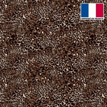 Tissu microfibre marron motif imitation léopard