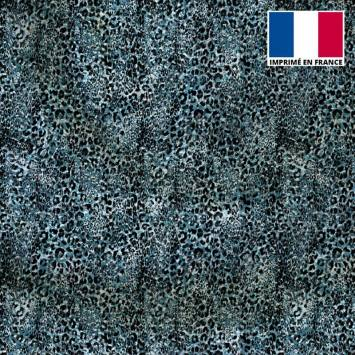 Tissu microfibre bleu motif léopard vintage