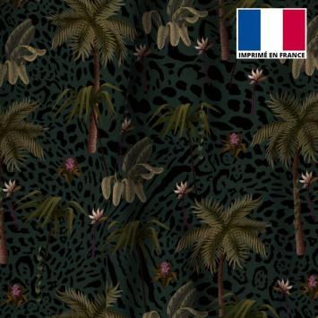 Velours ras léopard bleu motif palmier