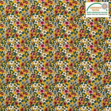 Popeline de coton ocre motif floral Oeko-tex