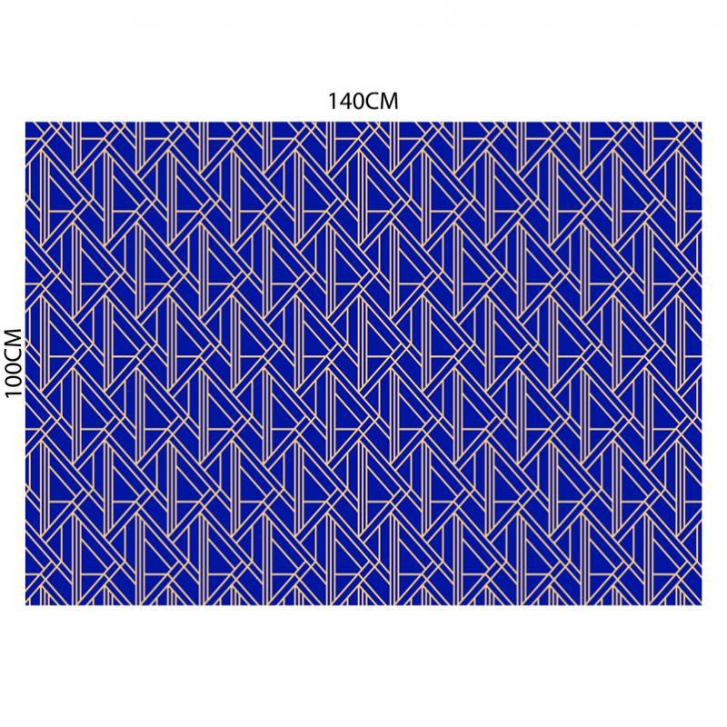 Velours ras imprimé art déco géométrique bleu majorelle