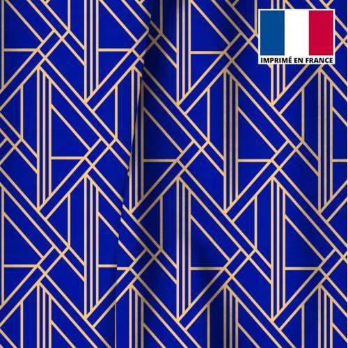 Velours imprimé art déco géométrique bleu majorelle