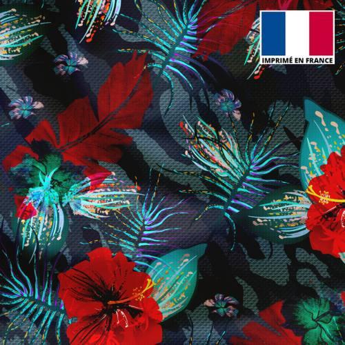 Tissu microfibre camouflage motif fleur rouge