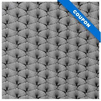 Coupon 50x68 cm - Jacquard noir éventail argent