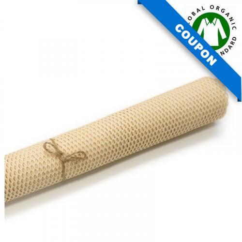 Coupon 85x50cm - Tissu filet mesh beige en coton bio