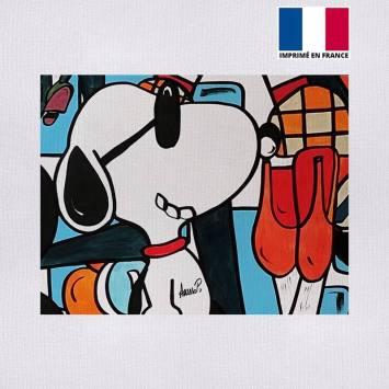 Coupon 27x21 cm - Toile canvas chien à lunettes - Création Anne-Sophie Dozoul