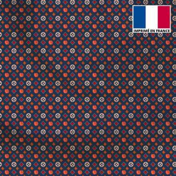 Satin bleu motif monogramme coeur - Anne-Sophie Dozoul