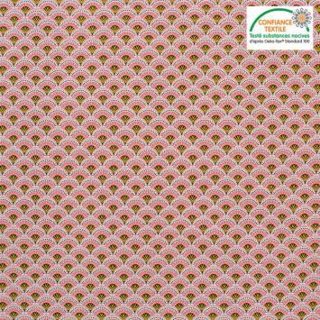 Popeline de coton rose motif éventail wazabi Oeko-tex