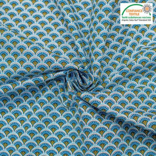 Popeline de coton bleu motif éventail wazabi Oeko-tex