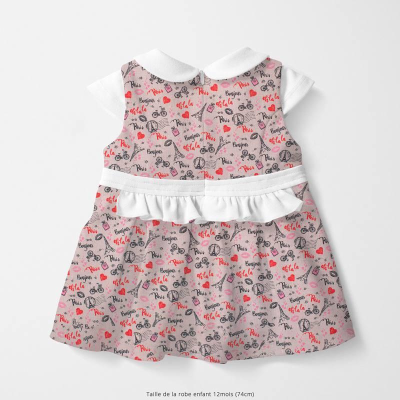 Popeline de coton rose motif bonjour paris Oeko-tex