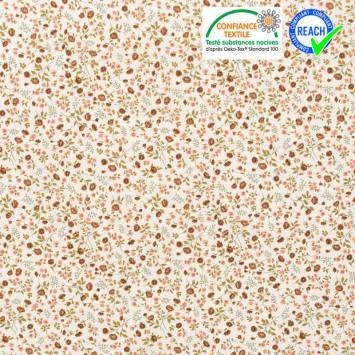 Coton blanc motif fleuri rose et tomette eleoni Oeko-tex