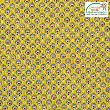 Popeline de coton jaune motif peacock Oeko-tex