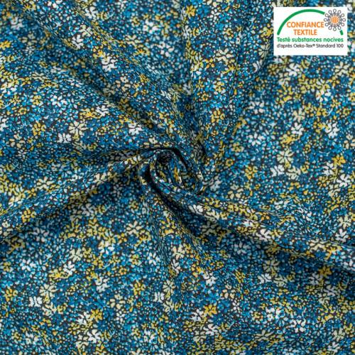 Popeline de coton noire motif fleuri clematite bleue Oeko-tex