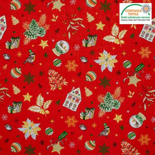 Popeline de coton rouge motif cadeau de Noel Oeko-tex