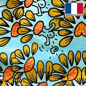 Satin bleu motif fleur abstraite jaune - Anne-Sophie Dozoul