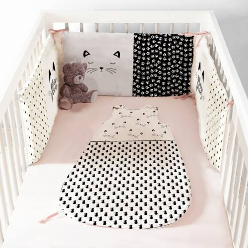 Coupon velours d'habillement pour gigoteuse motif chat