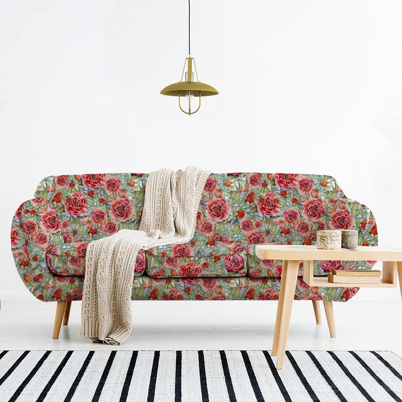 Velours ras vert motif pivoine rouge - Création Véronique Baccino